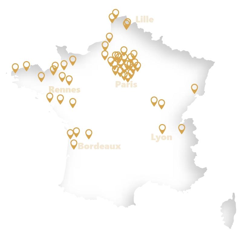 Carte établissements France - Vivalto Santé